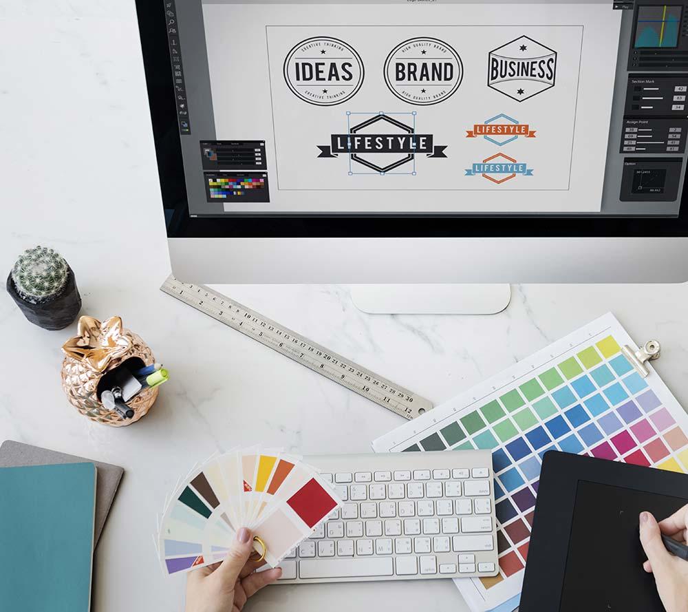 Person designing logos